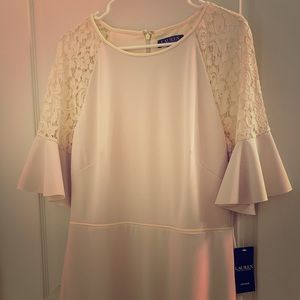 New Ralph Lauren Cream Lace Bell Sleeved Dress 14